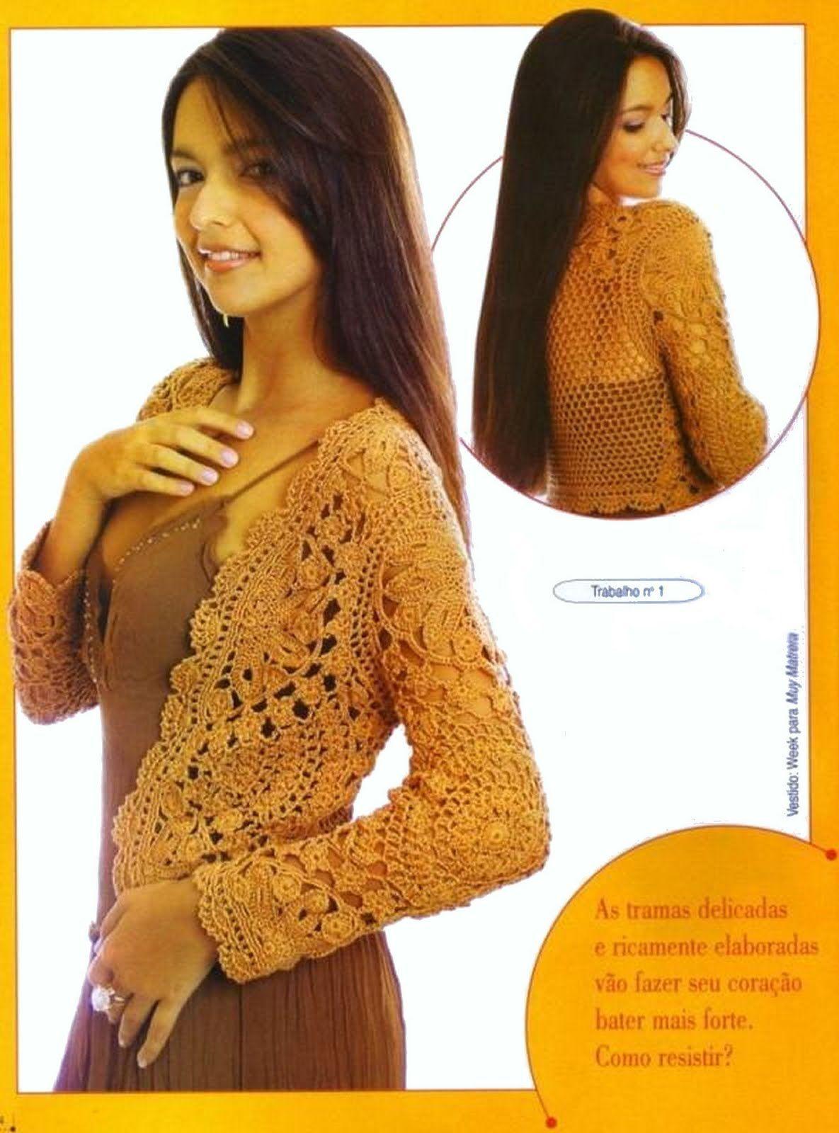 Crochet: Cardigan rust with diagrams | Crochet - Bolero, Shrug ...