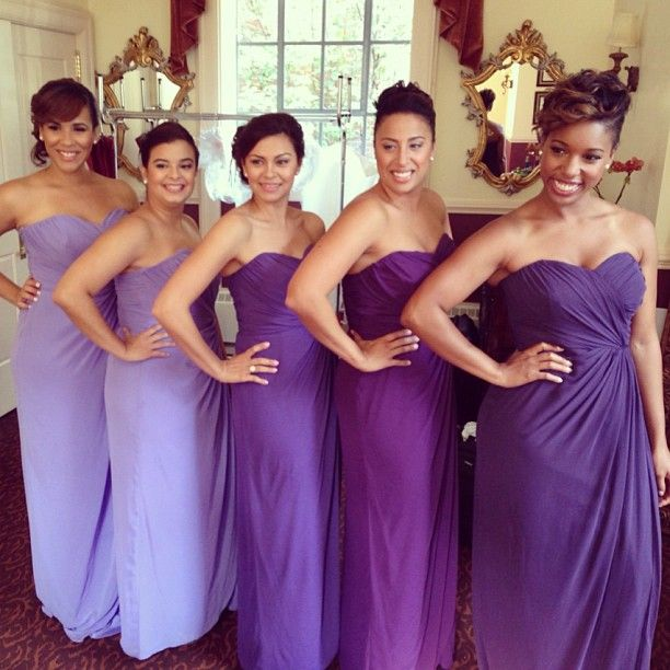Beautiful Bridesmaids Purple Ombre Effect Spring Bridesmaid