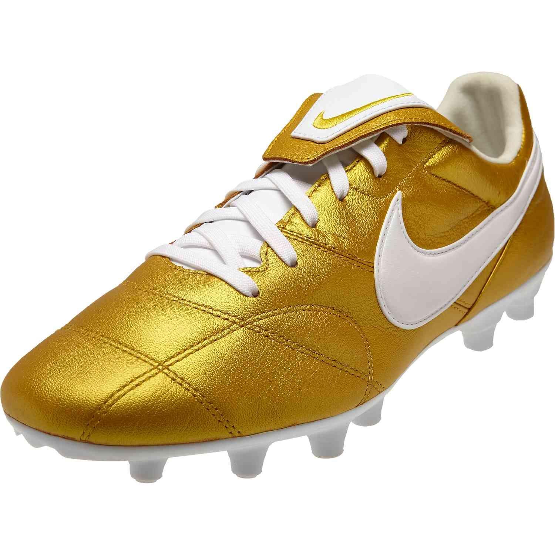 The Nike Premier Ii Fg Metallic Vivid Gold White In 2020 Nike Gold Soccer Boots Soccer Cleats Nike