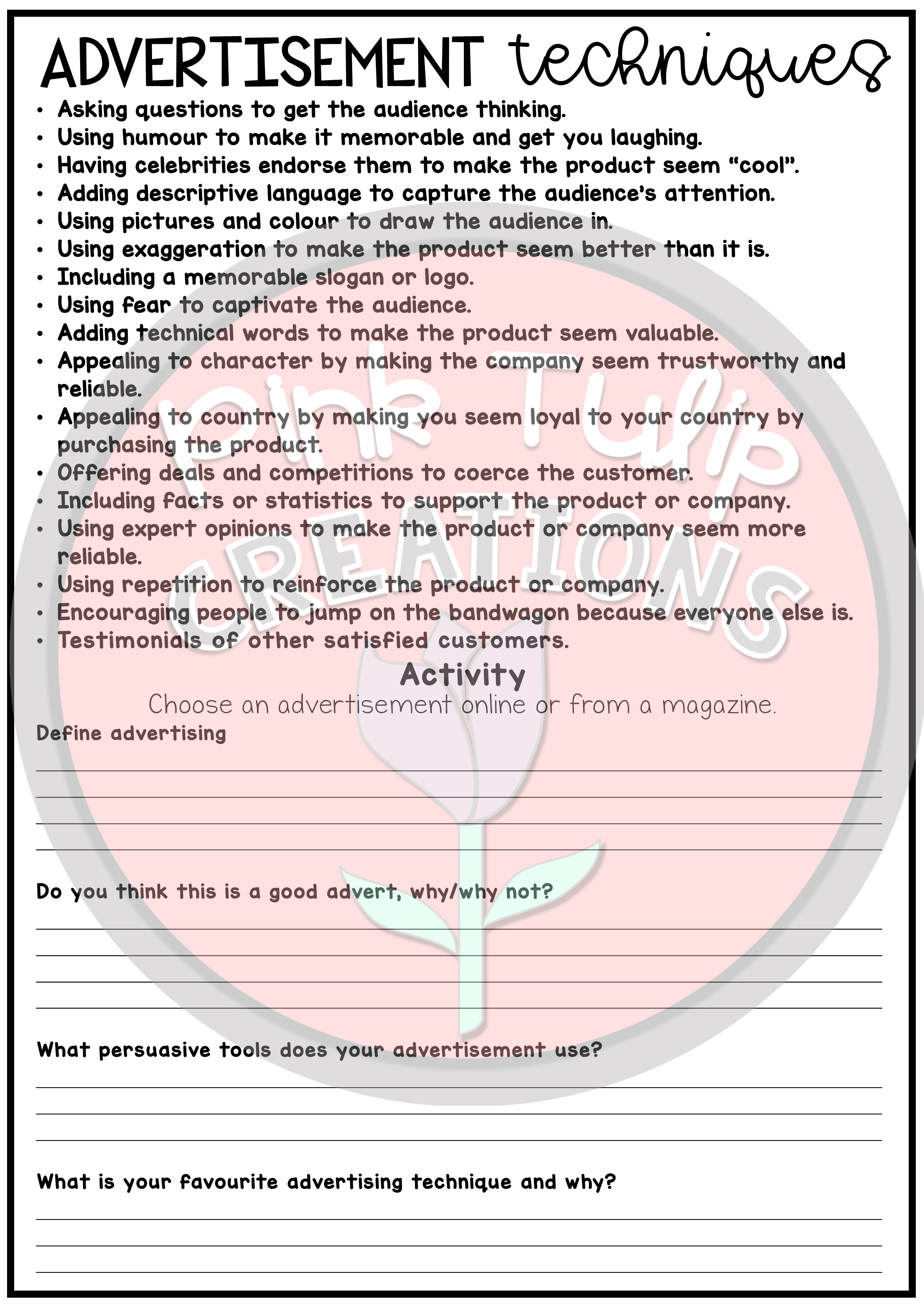 Persuasive Writing Worksheet Pack