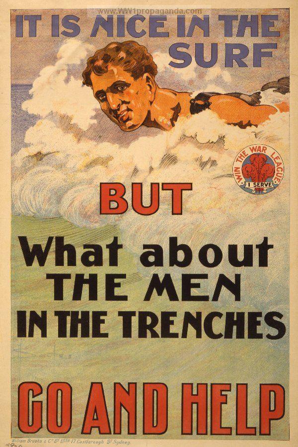 It Is Nice In The Surf World War I Australia Ww1 Propaganda Posters World War One Propaganda Posters