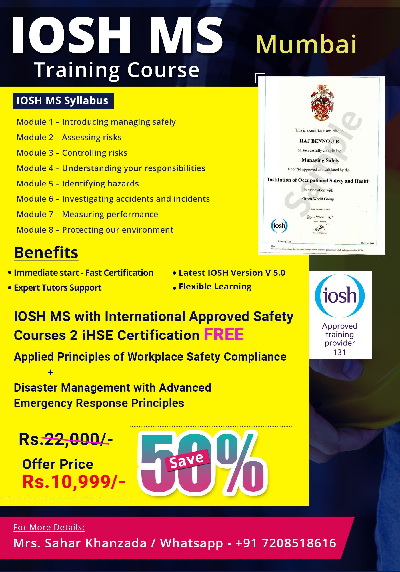 IOSH Course in Mumbai Safety courses, Training courses
