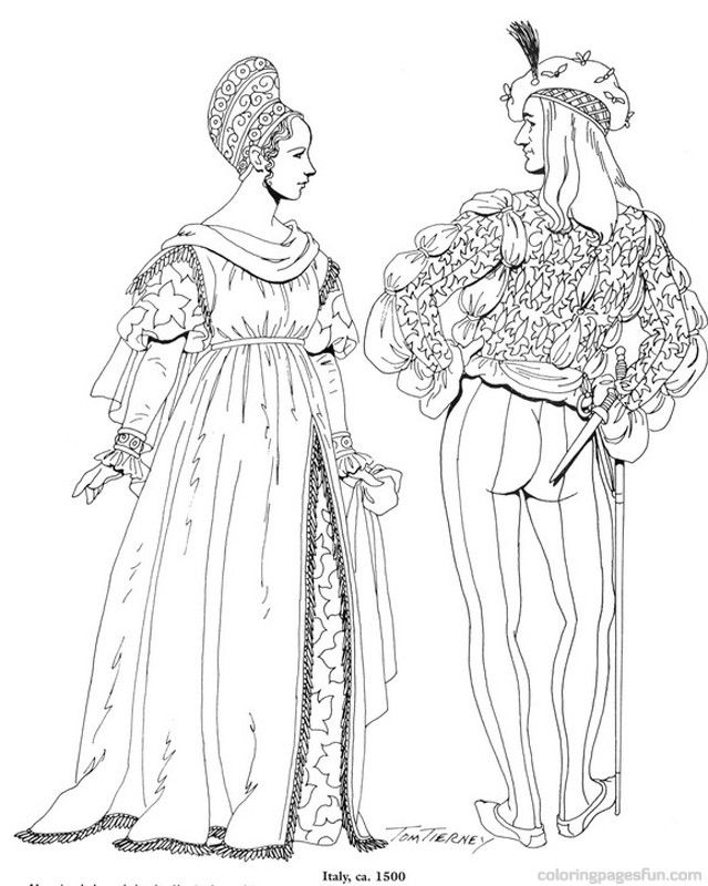 Renaissance Costumes And Clothing Coloring Pages 16