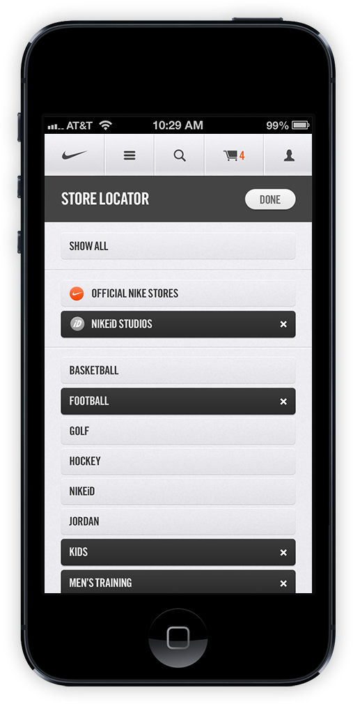 Nike.com Mobile by Erik Herrström, via Behance