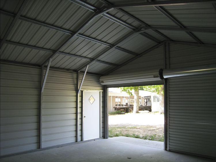 See Inside A Metal Garage Metal Garages Metal Carports