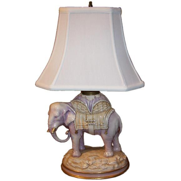 Austrian Porcelain Elephant Lamp Austria Circa 1900 The Well Modeled Pachyderm In Shades Of Pink And Oc Elephant Lamp Vintage Table Lamp Elephant Table Lamp
