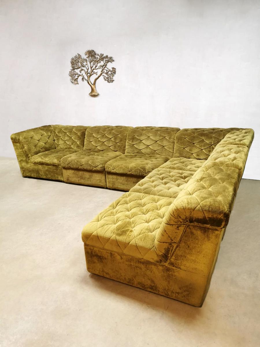Vintage Velvet Green Modular Velvet Sofa Lounge Bank Laauser Fluwelen Sofa Bank Velours Bank Lounge