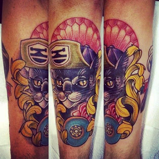 Cat tattoo -  skateboard - skateboarding - cap cat - Tatuagem gato skate -  Max Tattoo