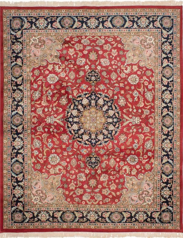 Hand Knotted Royal Kashan Red Wool Rug