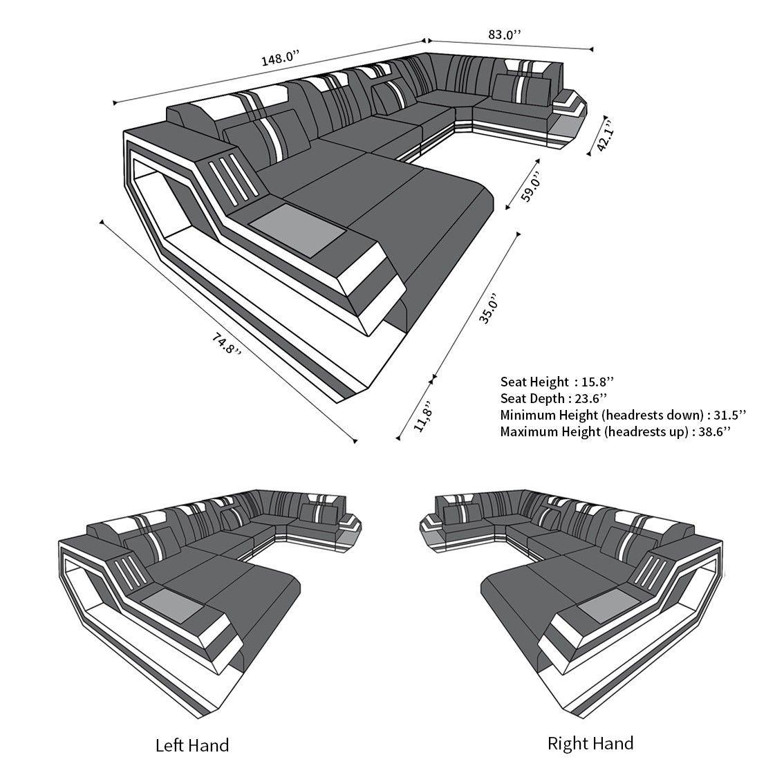Photo of Design Sectional Sofa Hollywood U Shape with LED and USB