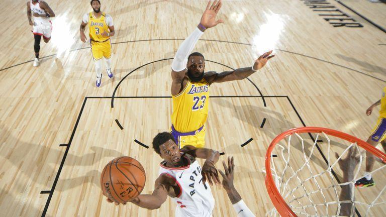 Rejected Lebron Denies Lowry At The Rim Nba News Nba News Nba Scores La Lakers