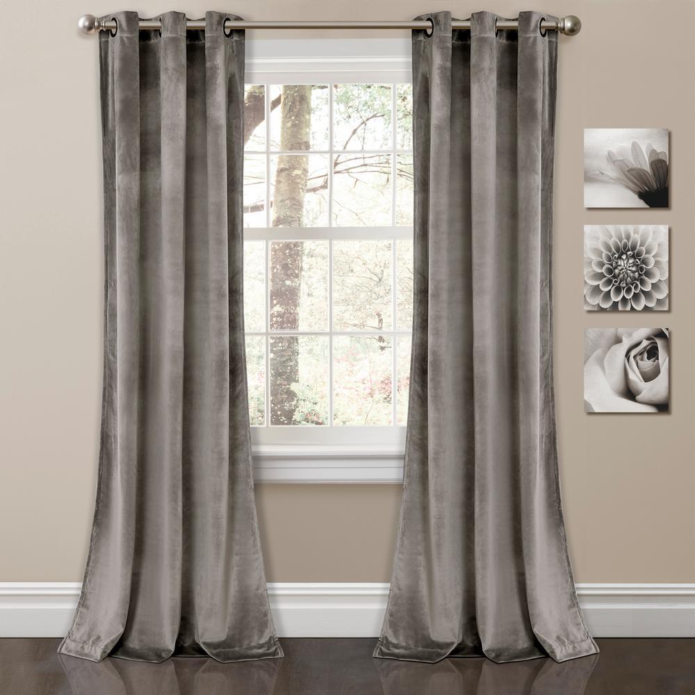 Lush Decor Prima Velvet Solid Window Panels Gray 84 X 38 2 Pc