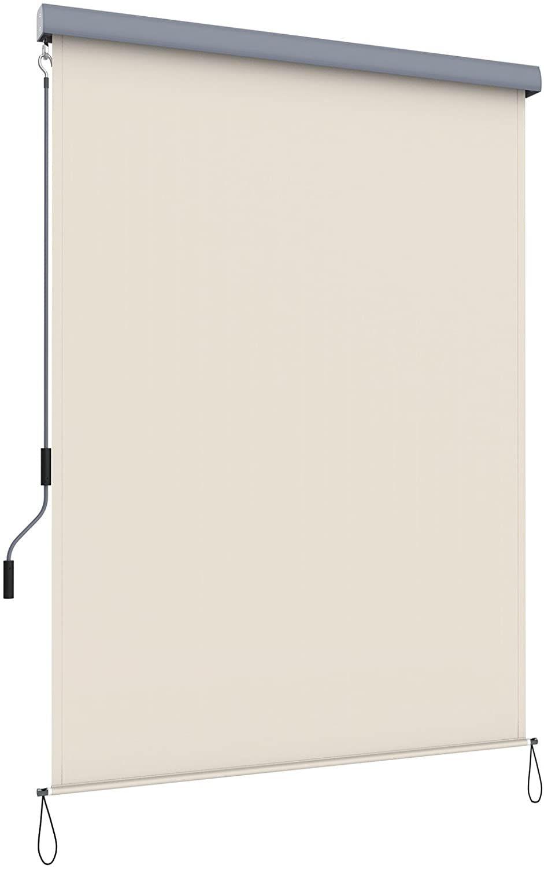 SONGMICS 1,4 x 2,5 m (B x L) Senkrechtmarkise für Balkon, Terrasse, mit Grauer Markisenkassette, Vertikalmarkise für außen, Markise für Windschutz, Sonnenschutz und Sichtschutz, Beige GSA145BE