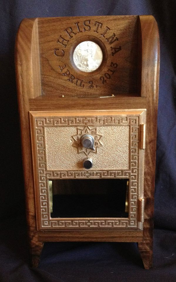 Handcrafted Post Office Coin Bank made with Vintage PO Box Door. - Handcrafted Post Office Coin Bank Made With Vintage PO Box Door