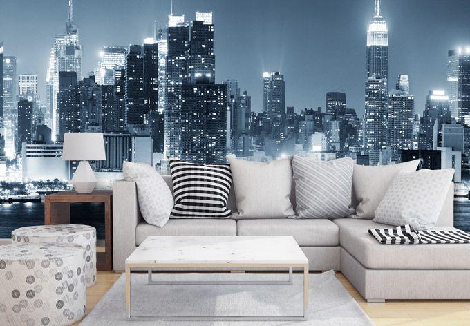 Fototapete New York at Night 1 Panorama   Living room ideas, Art ...