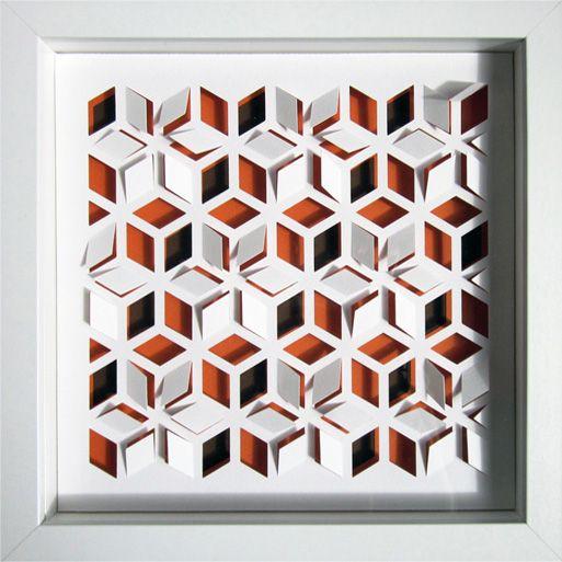 tableau en papier d coup encadr sous verre g om trie my work paper 3d paper et diy. Black Bedroom Furniture Sets. Home Design Ideas