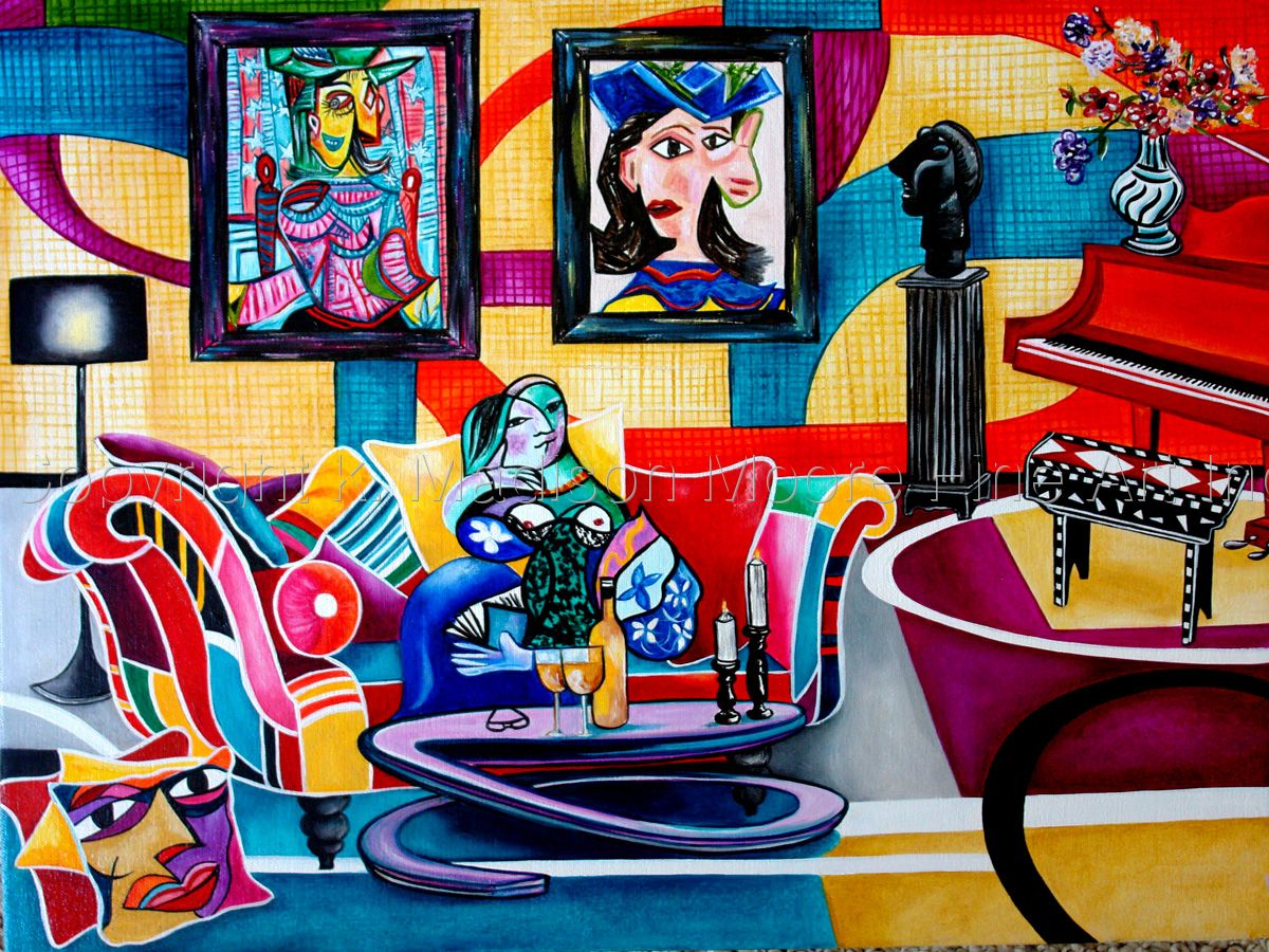 Interior Paintig Still Life Music Day Dreaming Picasso by k Madison Moore