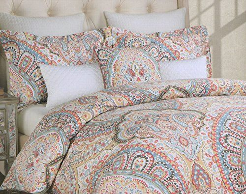 Delightful Amazon.com: Nicole Miller Buta Duvet Cover Set 3pc Large Paisley Twisted  Moroccan Medallion Blue Coral Orange Yellow Taupe Gray Boteh Style (King /Cal.