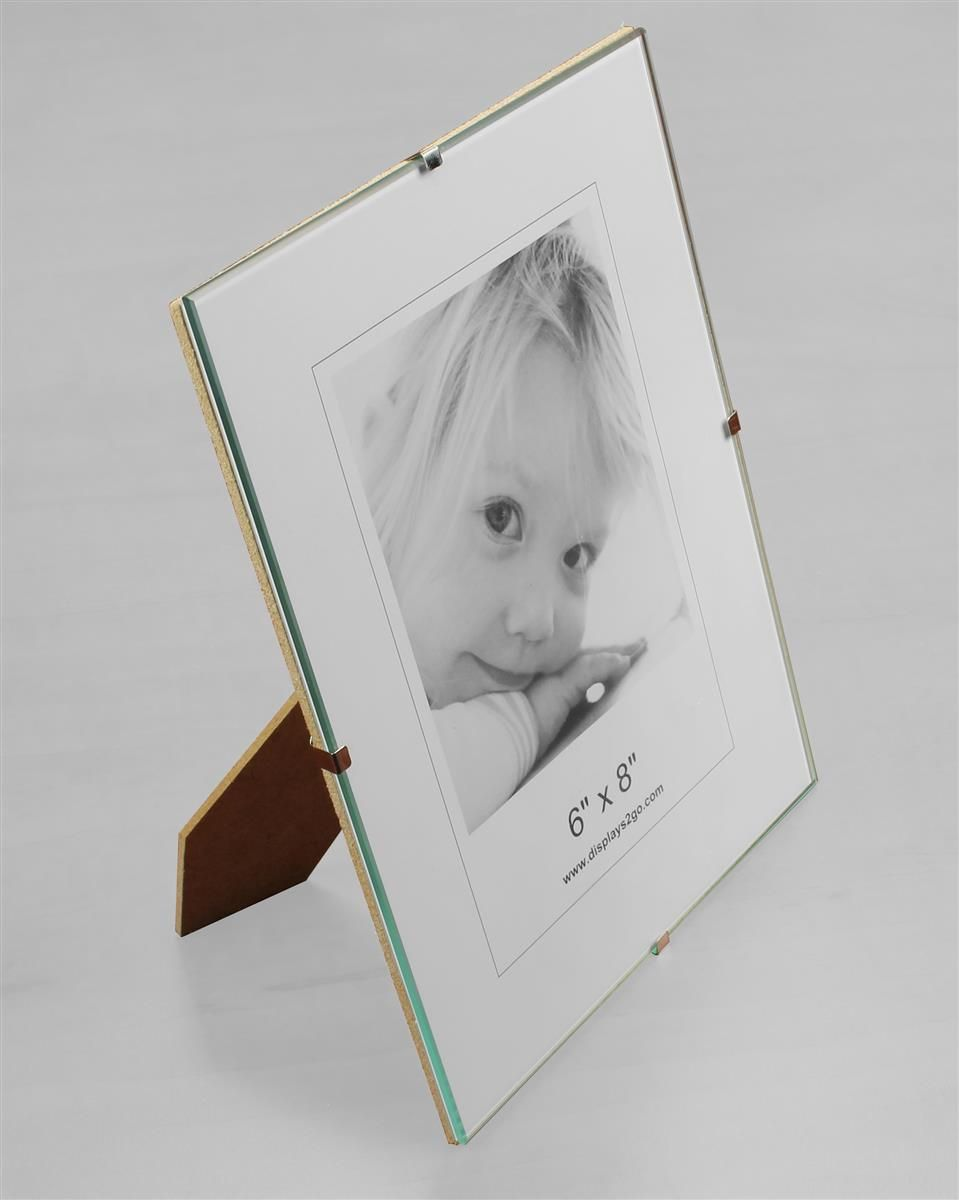 6 x 8 Frameless Picture Frame for Table or Wall, with Side Clips ...