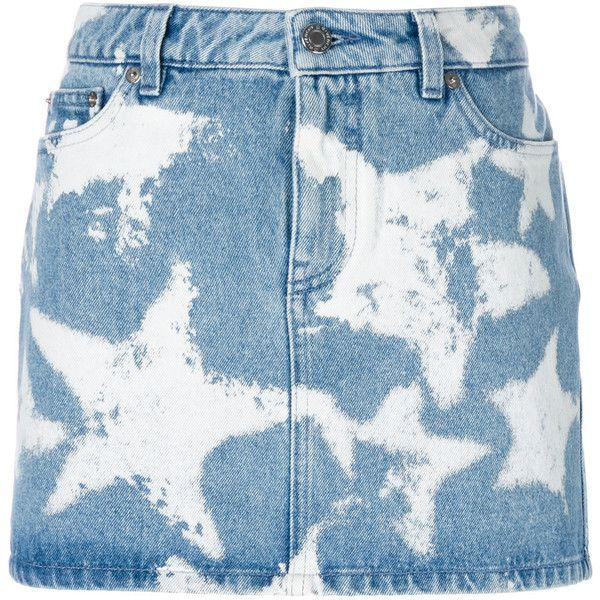 Givenchy Star Print Denim Skirt ($635) ❤ liked on Polyvore featuring skirts, denim, denim skirt, givenchy, button-front denim skirts, high rise skirts and short blue skirt