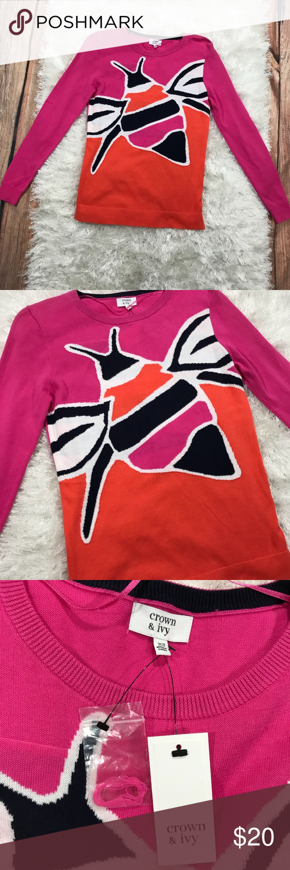 Crown & Ivy Orange and Pink Sweater NWT | Orange pink and Crown