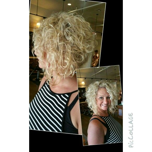Curly, blonde, stacked bob, wedge, swing bob, natural curl