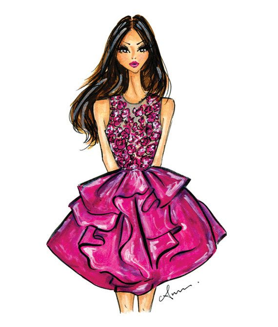 fashion illustration print marchesa por anumt en etsy