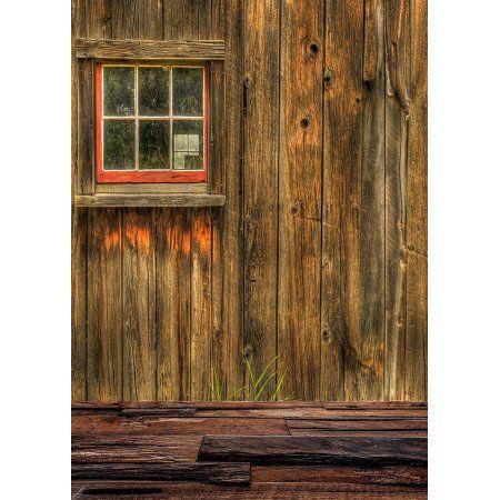 HelloDecor Polyster Rustic Barn Door Wall Background Dark Wood Floor