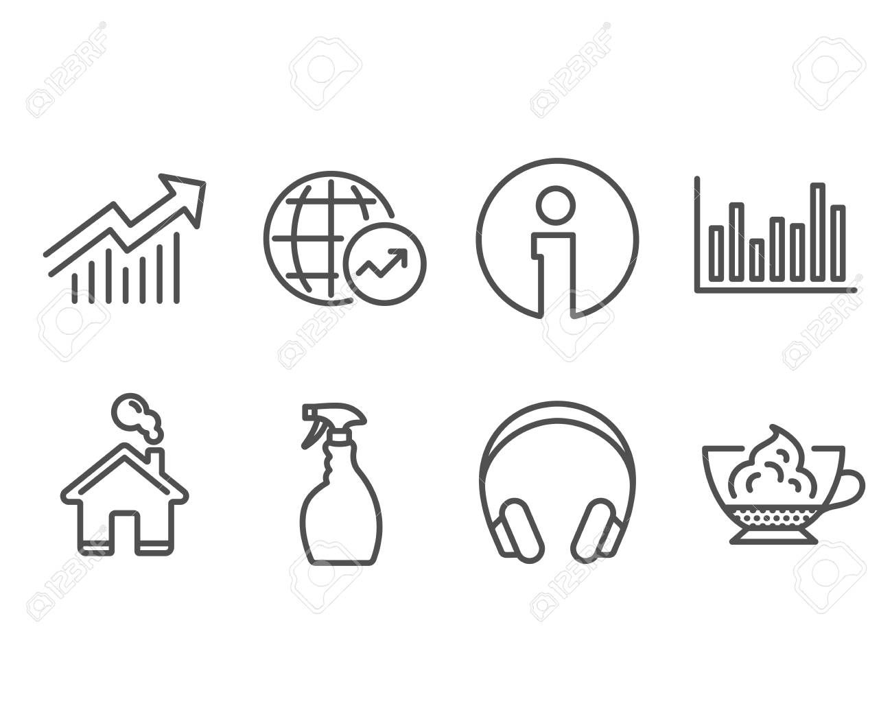 Set of Bar diagram, Headphones and Spray icons. World statistics, Demand curve and Espresso cream signs. Statistics infochart, Music listening device, Washing cleanser. Vector ,