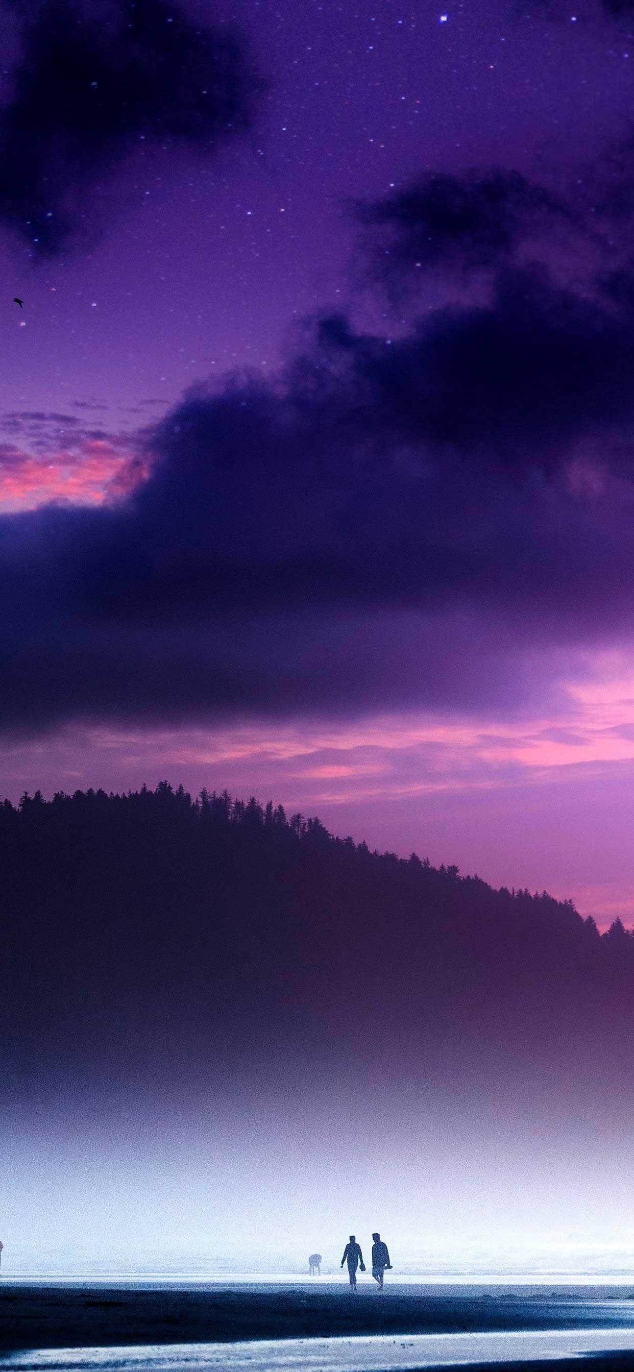 Iphone Wallpaper beach twilight purple sky k k Hd in 2020
