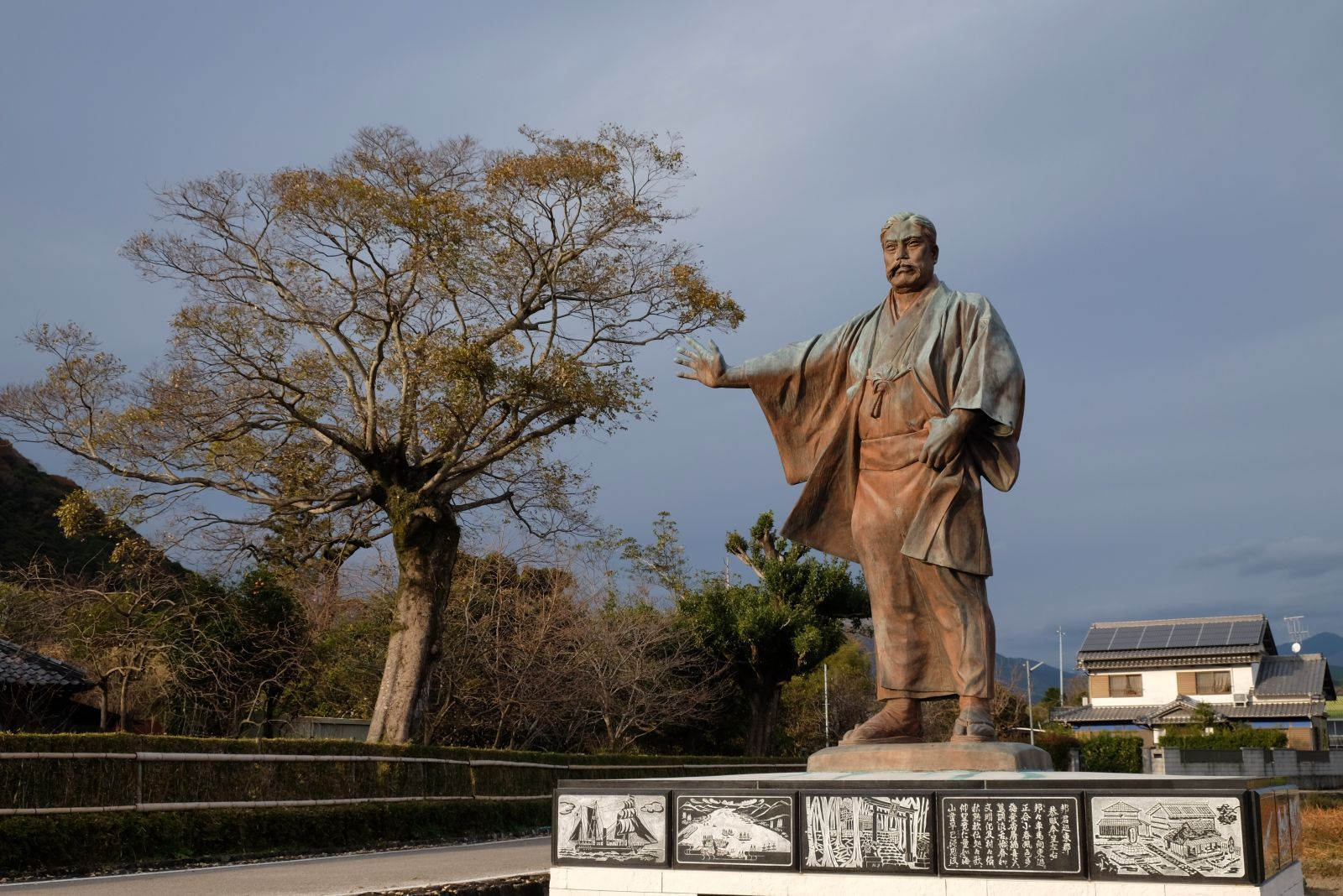 Birthplace of Iwasaki Yatarō in Aki, Kōchi. This dramatic statue stands next to the home of Iwasaki, the found of the Mitsubishi Group.