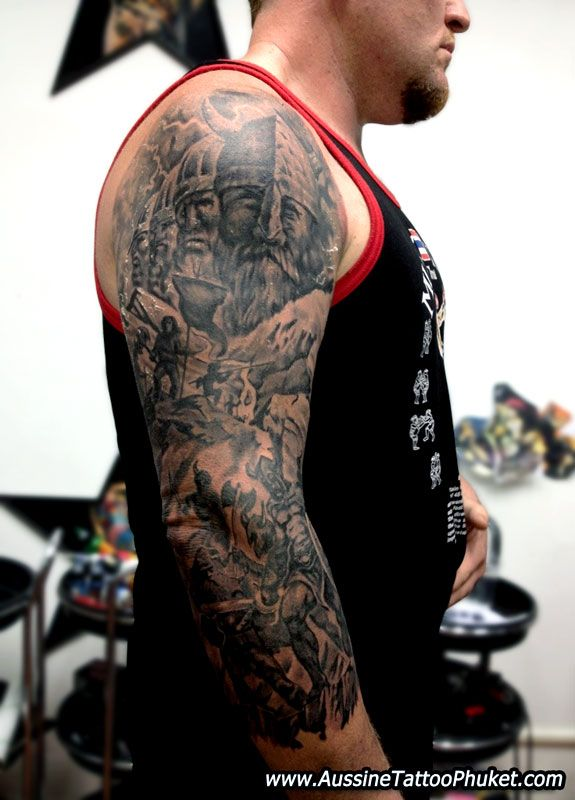 Viking warrior sleeve tattoos half sleeve old viking for Viking tattoo sleeves