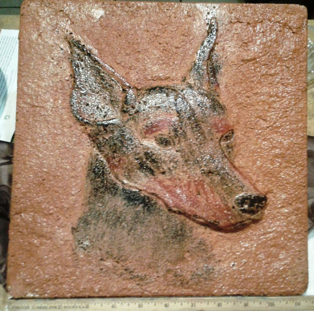 "Doberman Pinscher Stepping Stone Hand-Cast Concrete Home Decor or Table Top #SteppingStone - Large (11.5"" x 1"") and heavy enough for outdoor use in decent weather or indoors any where you please. EBay auction sale proceeds go to Hand Me Down Dobes!"