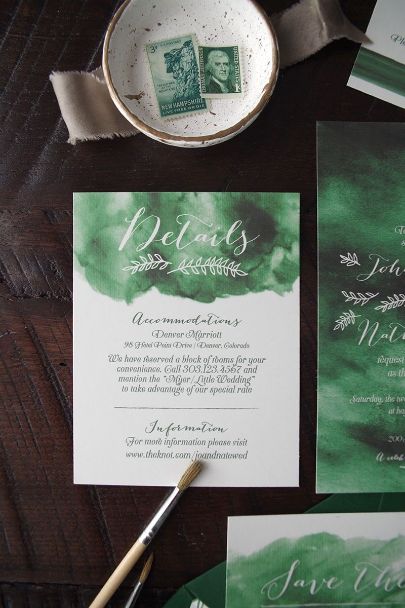 Johanna Watercolor Wedding Invitation Suite Emerald Green
