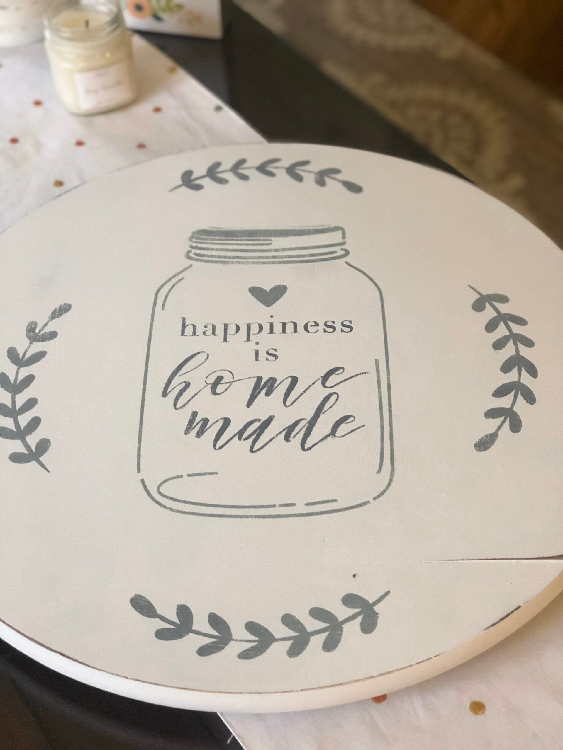 Wooden Lazy Susan ~ Lazy Susan Turntable ~ Painted Farmhouse Lazy Susan ~ White Kitchen Lazy Susan Kitchen Table Decor#decor #farmhouse #kitchen #lazy #painted #susan #table #turntable #white #wooden