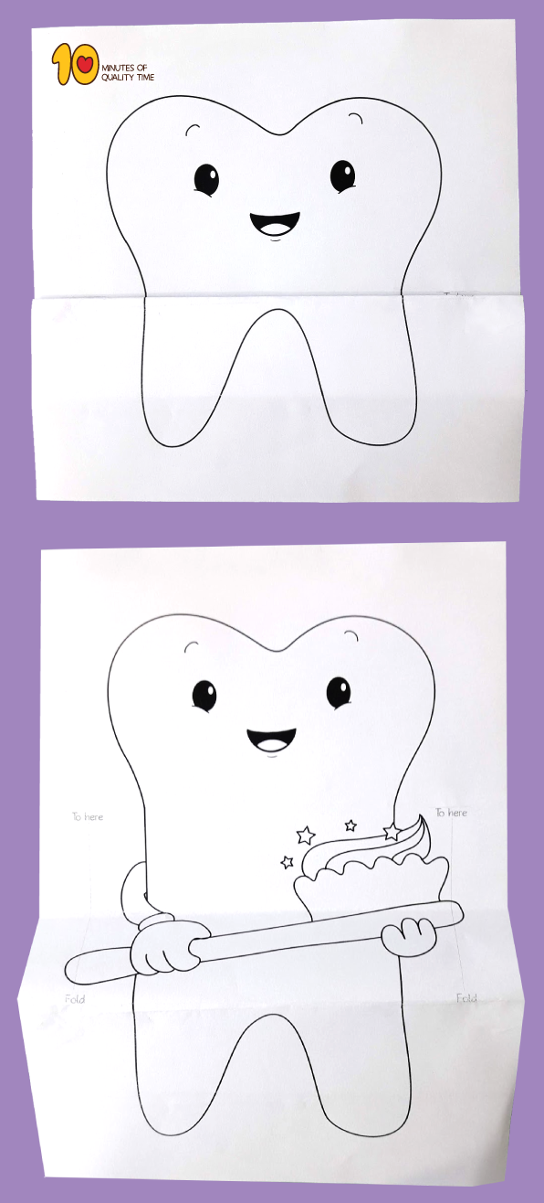 Tooth With Toothbrush – Surprise Folding Paper