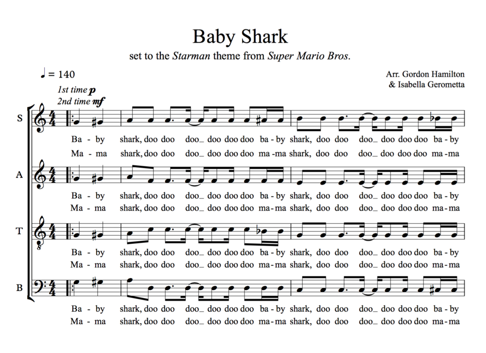 Baby Shark SATB | Choir and Sheet music