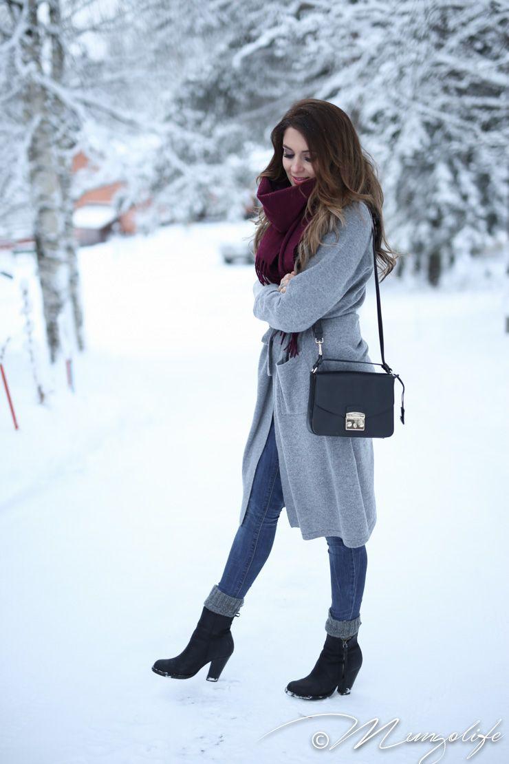 Uniqlo sweater, Balmuir grey cardigan, Acne studios black boots, Acne studios burgundy scarf, Furla Brand City Club bag