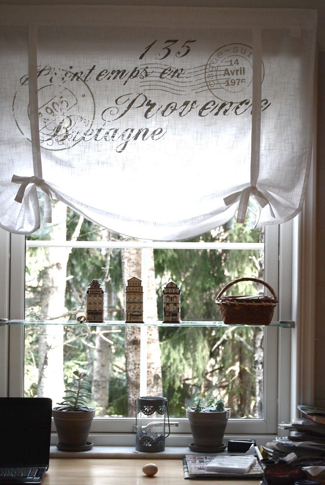 french script window treatment so shabby shabby chic pinterest gardinen. Black Bedroom Furniture Sets. Home Design Ideas