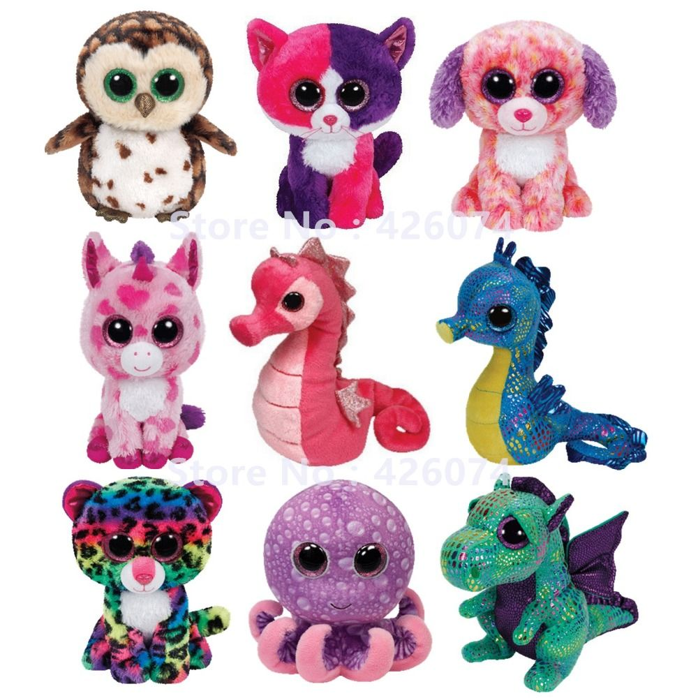 pas cher nouveau ty beanie boos grands yeux en peluche animaux chien hibou hippocampe licorne. Black Bedroom Furniture Sets. Home Design Ideas