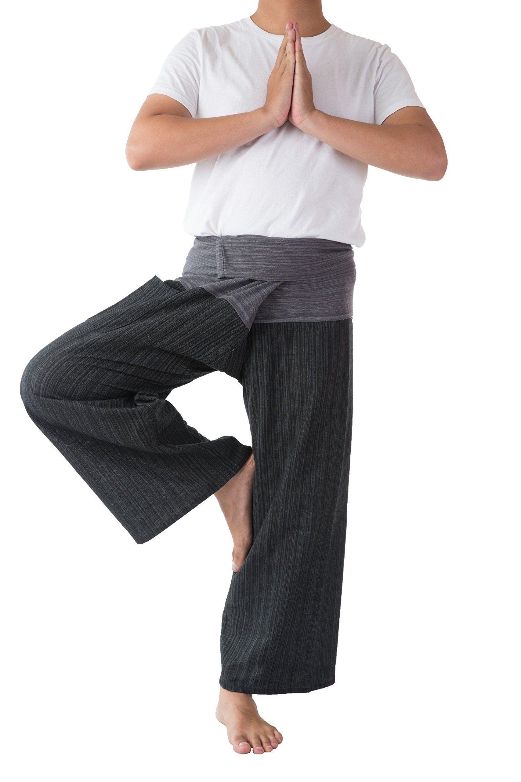 0d2f806a66 Thai Fisherman Pants Men's Yoga Trousers Gray and Charcoal 2 Tone Pant (Free  Size)