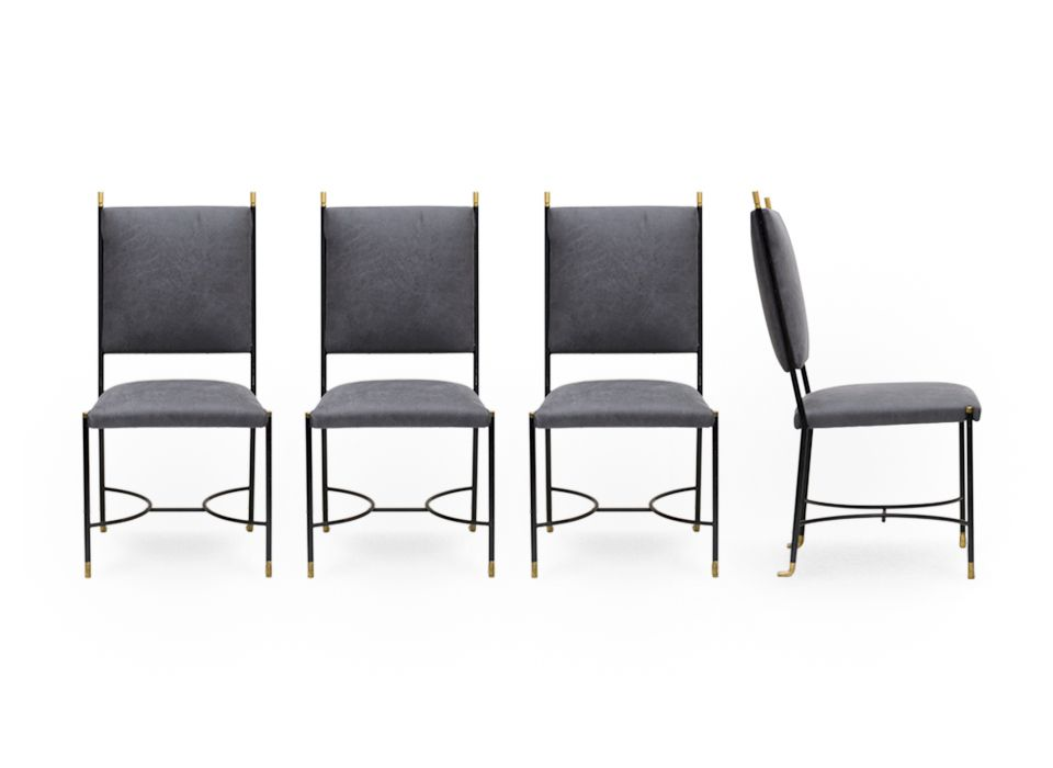 Four iron chairs with brass details attributed to Ignazio Gardella.