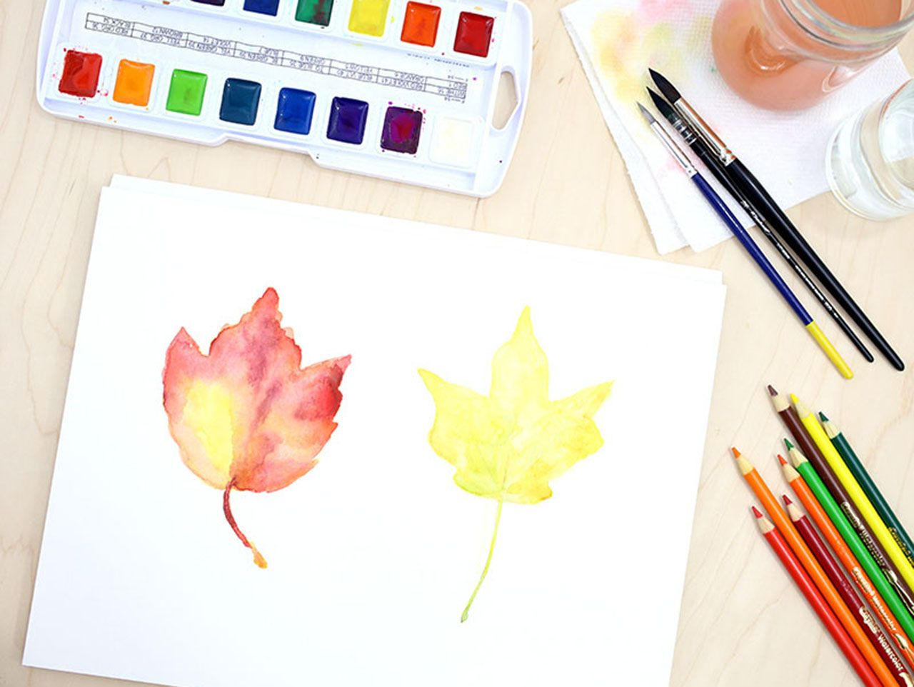 Watercolor Fall Leaves Tutorial Watercolor Leaves Autumn Leaves