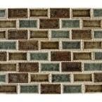 MS International Fossil Canyon 12 in. x 12 in. x 8 mm Glass Mesh-Mounted Mosaic Tile, Multi Color