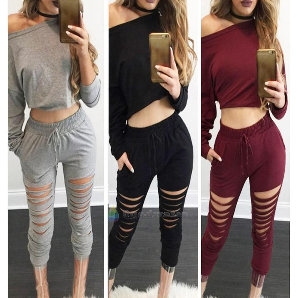 2Pcs Set Women Tracksuit Hole Pants Casual Sport Suit Crop Top Hoodie  Sweatshirt