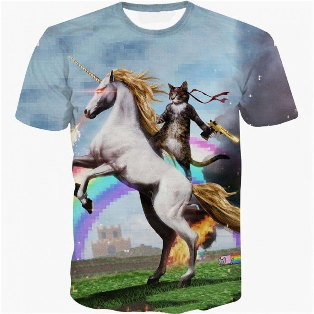 Rainbow Unicorn T Shirt Cat Tee Shirts Cat Tshirt Cartoon T Shirts