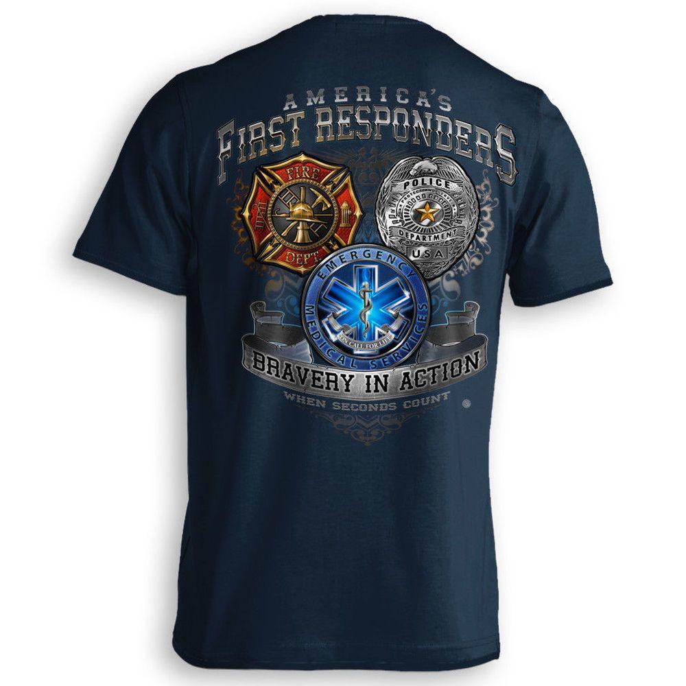 FIREFIGHTER Long Sleeve T Shirt Fire Rescue Fire Dept Firemen Bull Dog Tee S-3XL