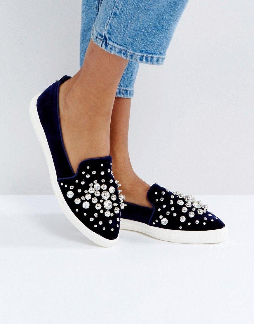 Miss KG Lareina Embellished Velvet Sneakers   Navy
