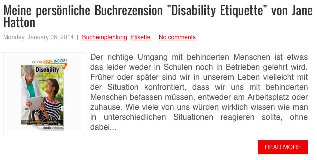 """Meine letzte Buchrezension zum Thema """"Disability Etiquette"""", """"Der korrekte Umgang mit behinderten Menschen"""". Mehr dazu: http://www.suedtirolcareer.com/2014/01/meine-personliche-buchrezension.html"""