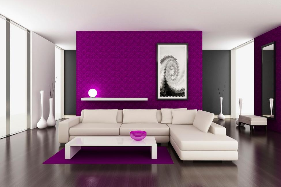 Wunderbar Wandfarben Ideen Wohnzimmer Mit Der Flauschigen Lila Farbe An Den Wänden  Machen Dieses Zimmer Aussehen Heller